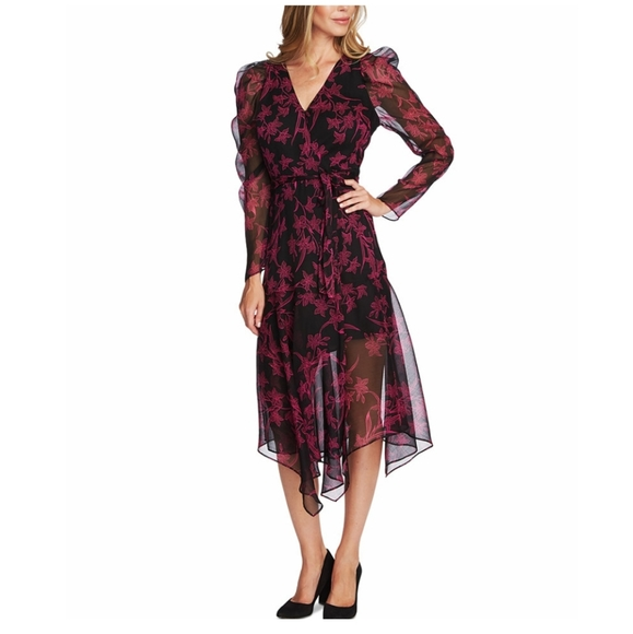 Vince Camuto Dresses & Skirts - VINCE CAMUTO Printed Asymmetrical Faux-Wrap Dress